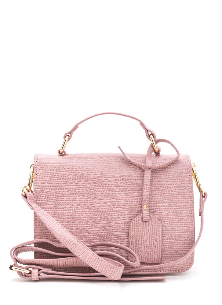 Classic Style Faux Reptile Purse  PINK