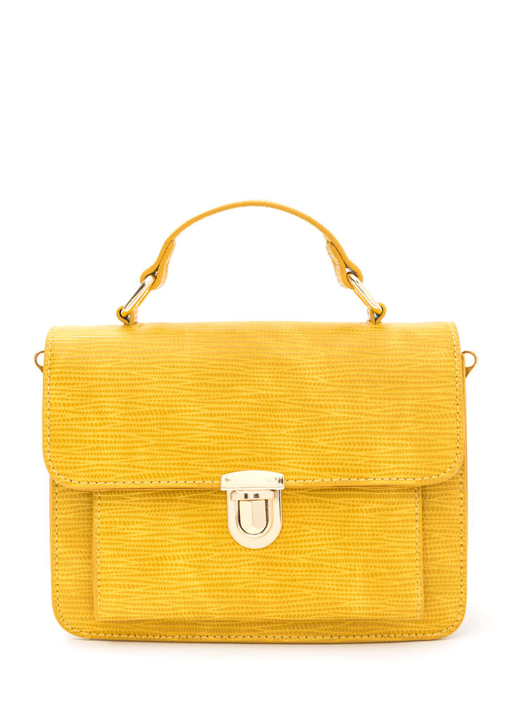 Classic Style Faux Reptile Purse  YELLOW