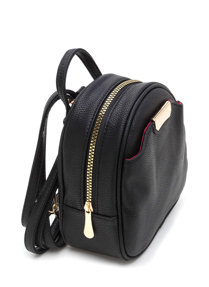 Small Scale Faux Leather Mini Backpack Black Beige Pink