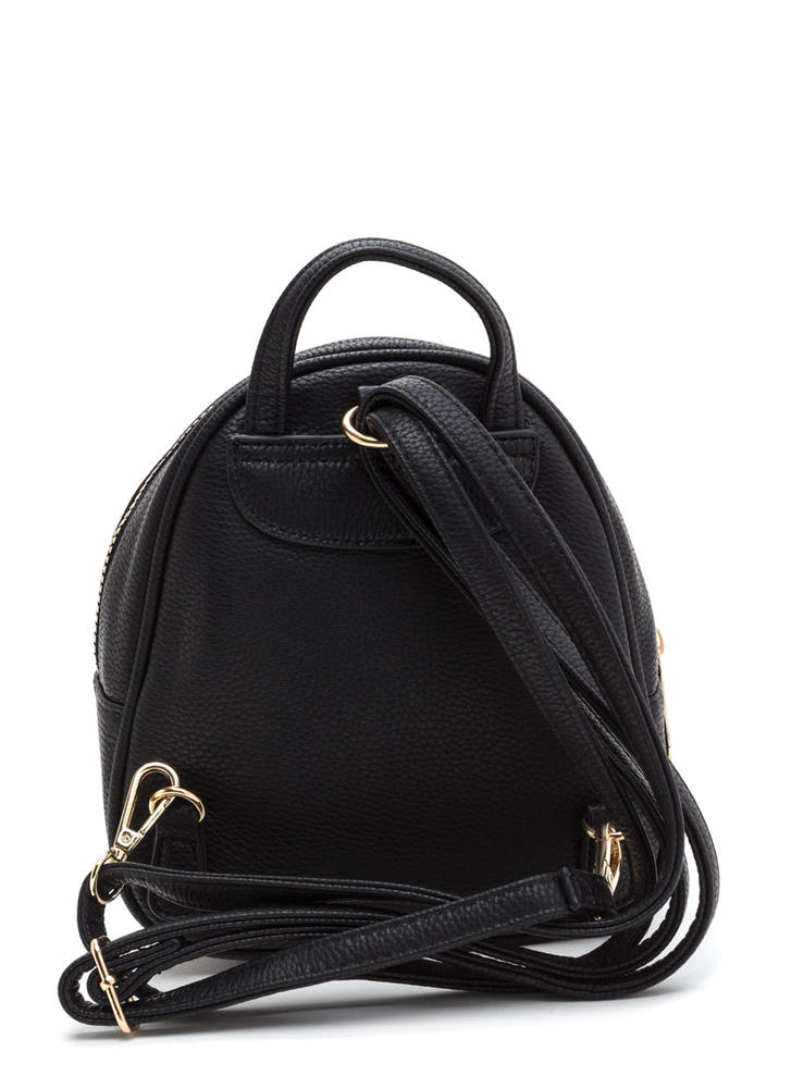 Small Scale Faux Leather Mini Backpack BLACK