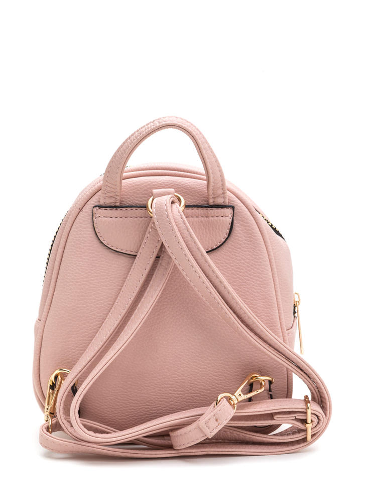 Small Scale Faux Leather Mini Backpack PINK