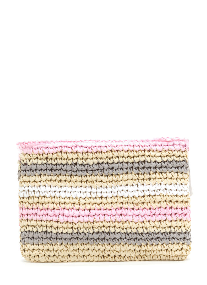 Easy Story Striped Raffia Clutch PINK