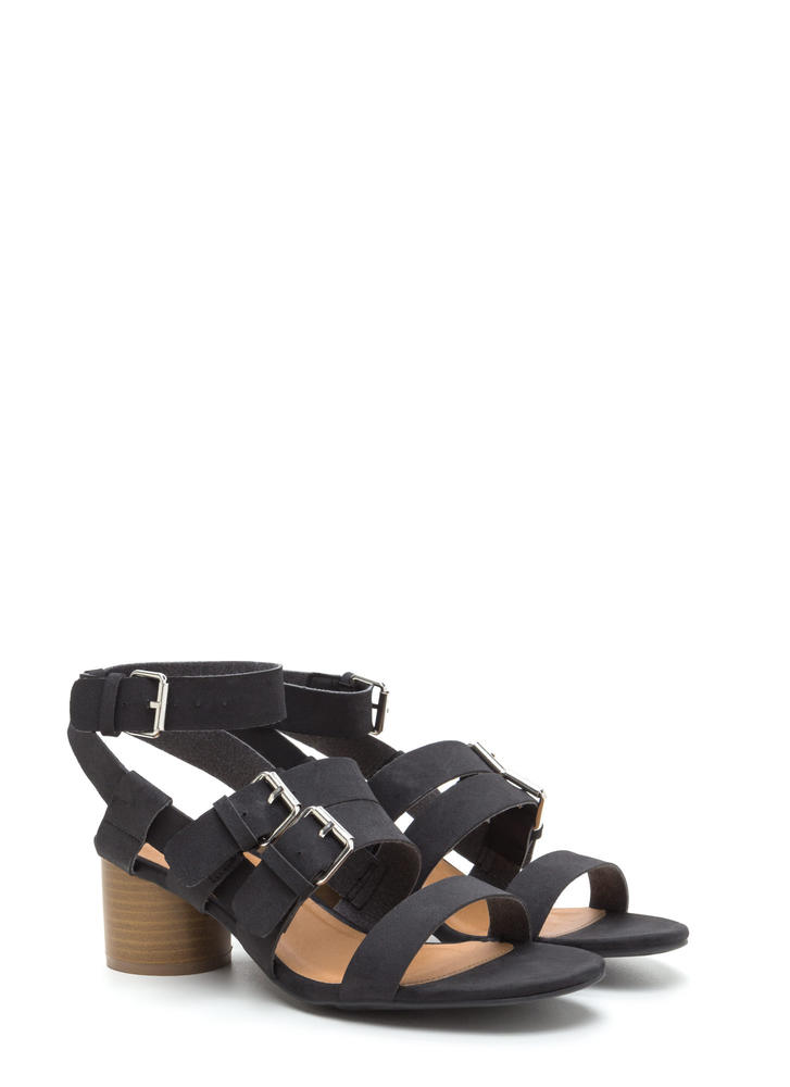 Bold And New Chunky Faux Nubuck Heels BLACK