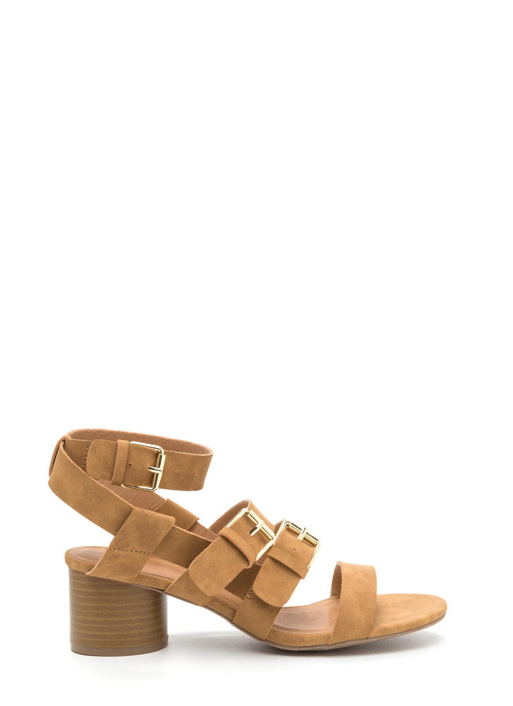 Bold And New Chunky Faux Nubuck Heels CAMEL