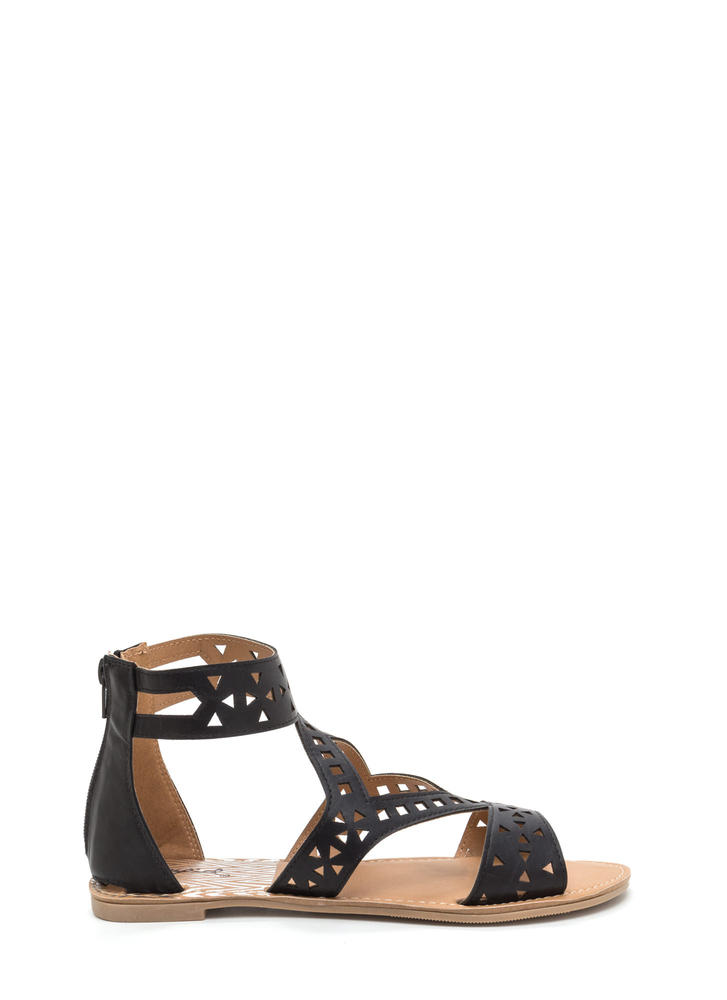 Shape Up Cut-Out Faux Leather Sandals BLACK