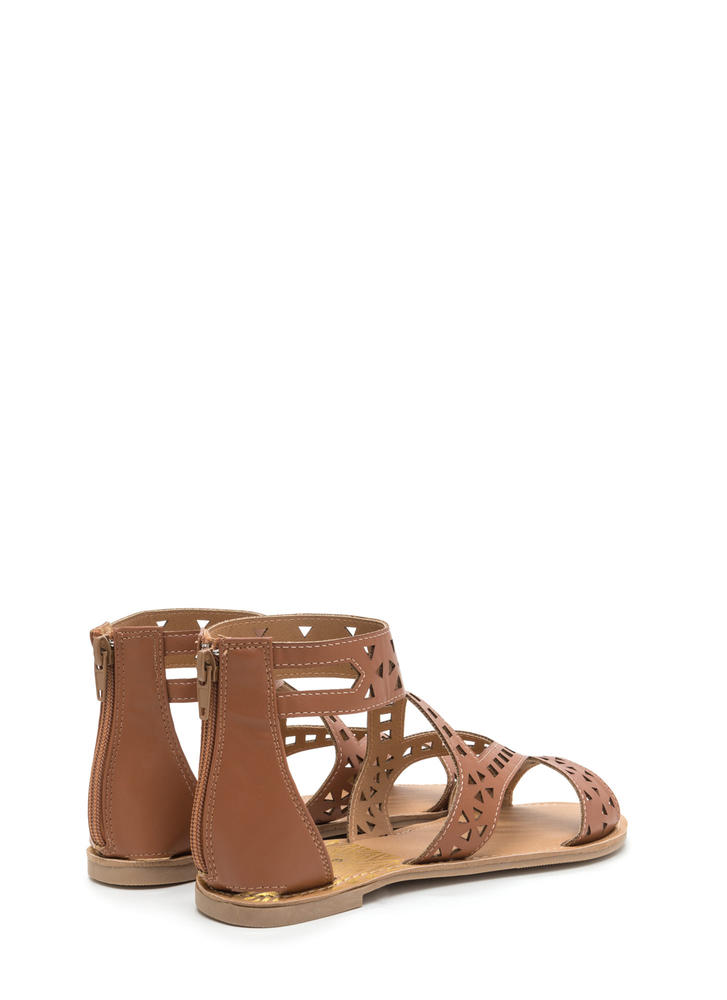 Shape Up Cut-Out Faux Leather Sandals COGNAC
