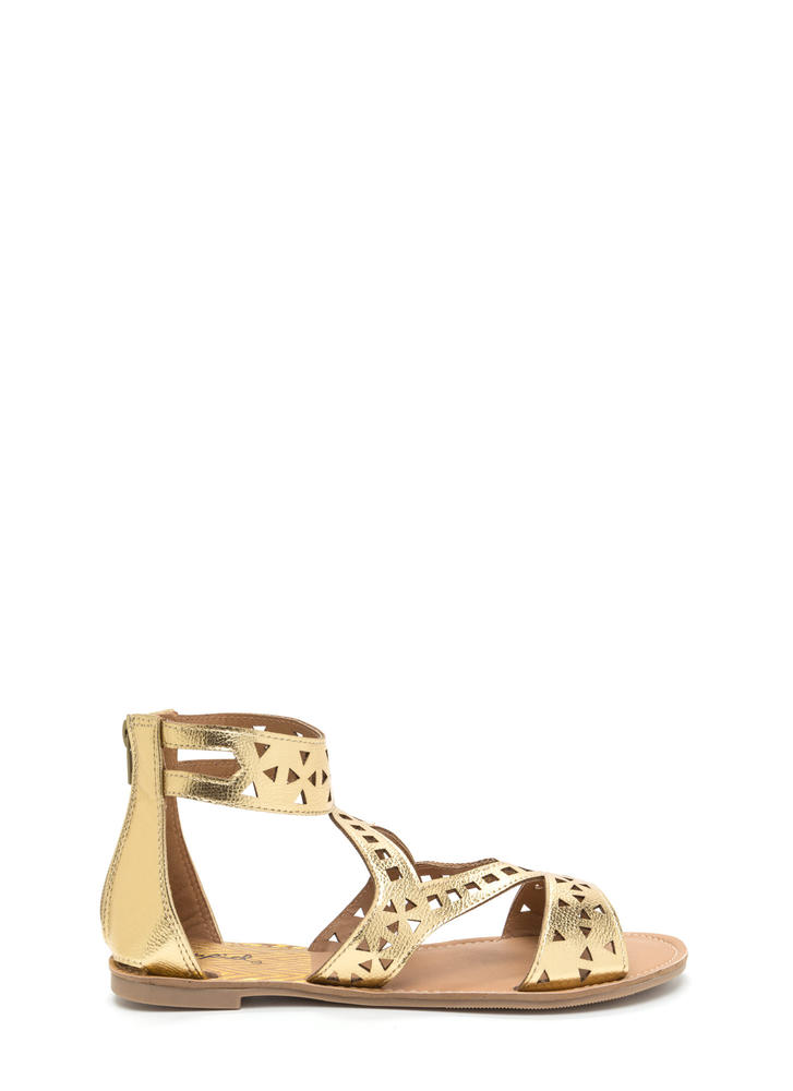 Shape Up Cut-Out Metallic Sandals GOLD