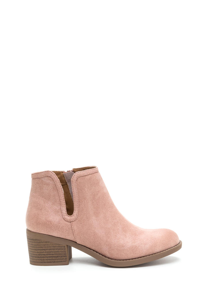 Wild West Show Chunky Faux Suede Booties