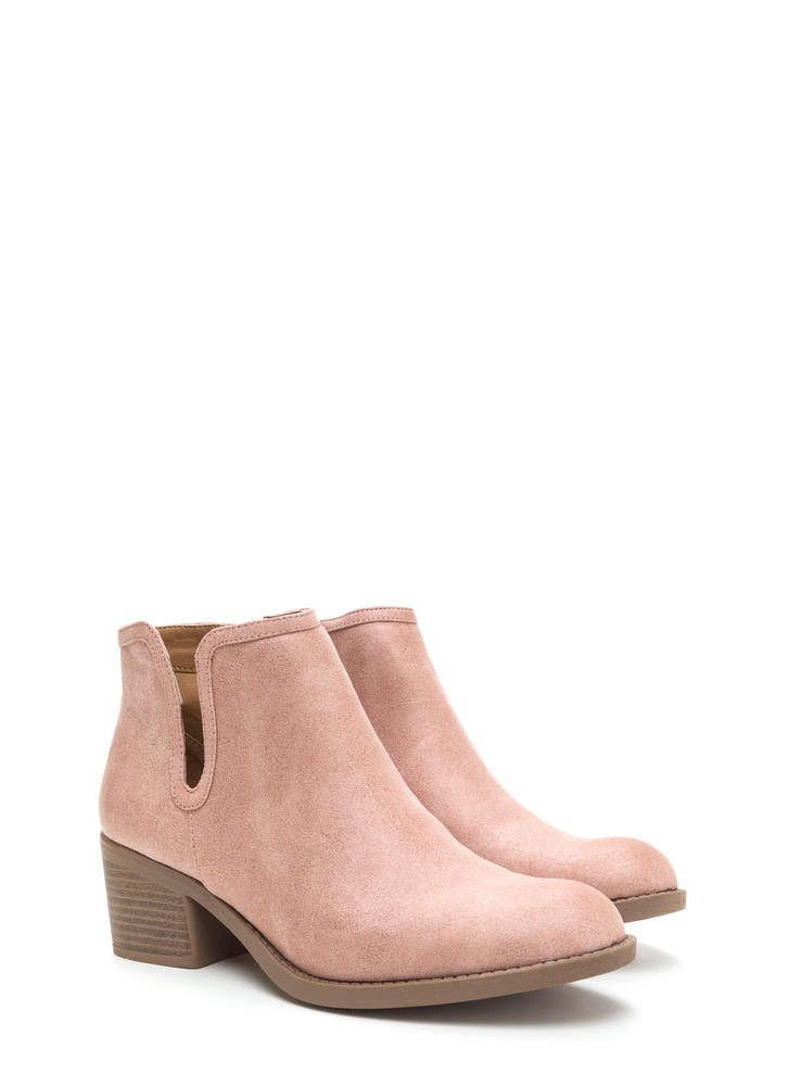 Wild West Show Chunky Faux Suede Booties BLUSH