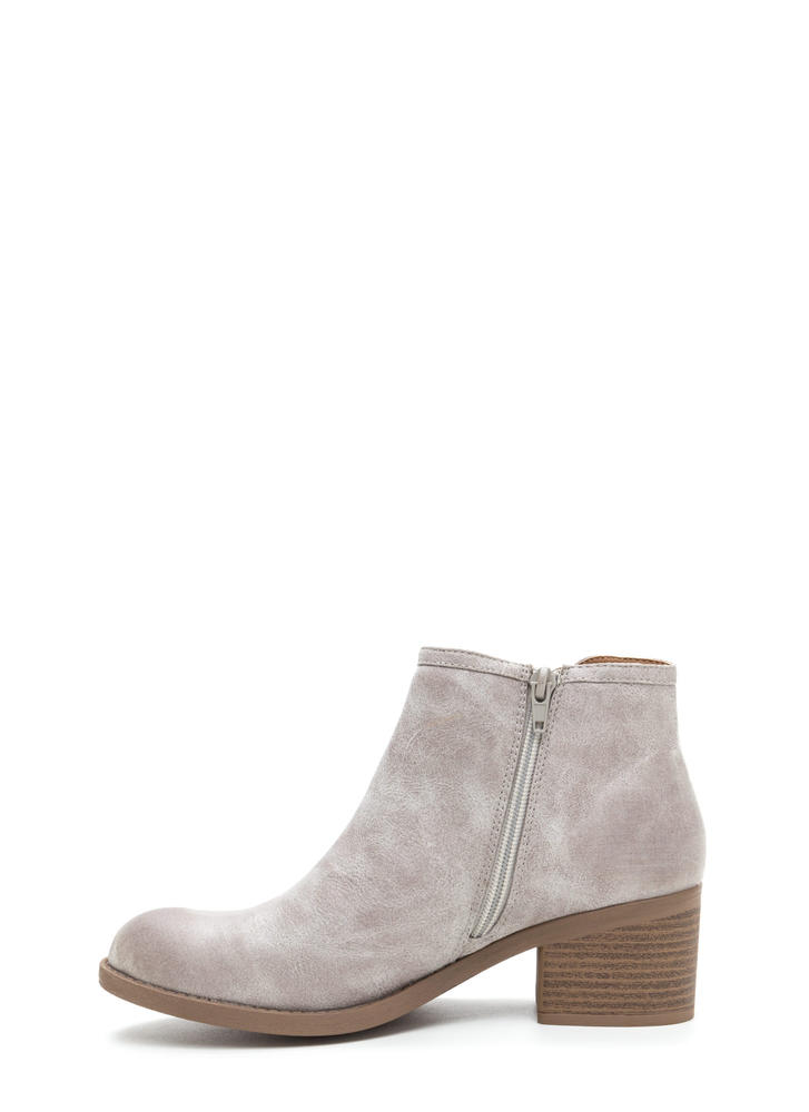 Wild West Show Chunky Faux Suede Booties LTGREY