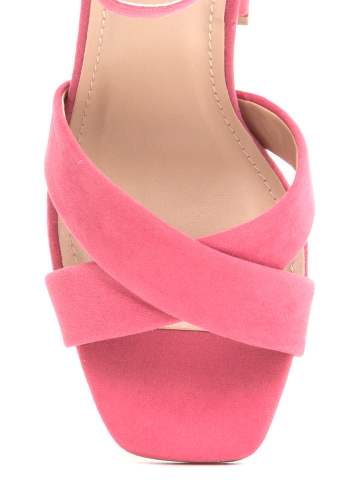 Cross Reference Chunky Strappy Heels CORAL