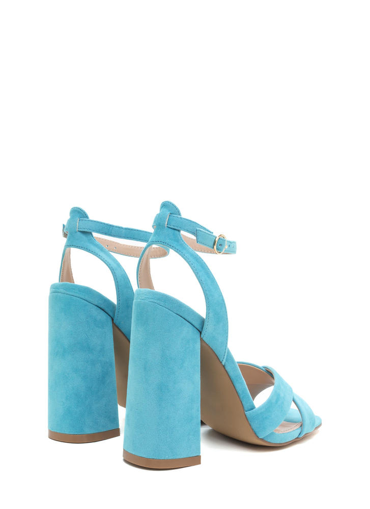 Cross Reference Chunky Strappy Heels LTBLUE
