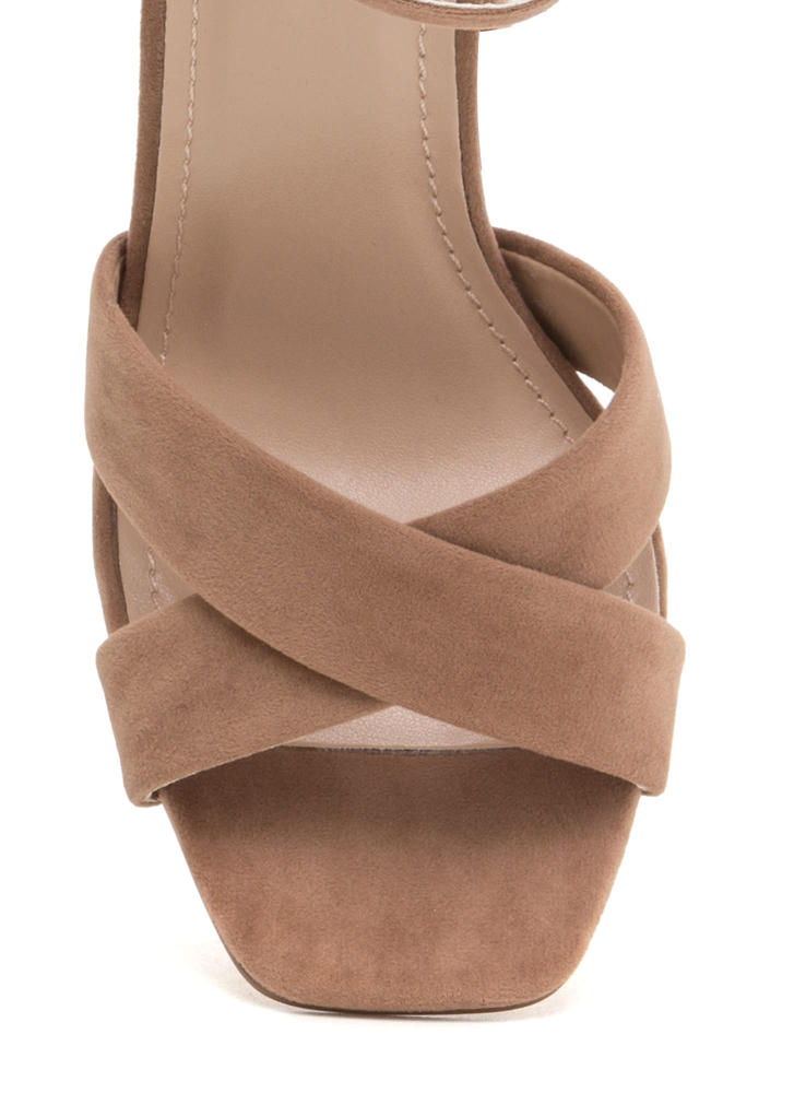 Cross Reference Chunky Strappy Heels TAUPE