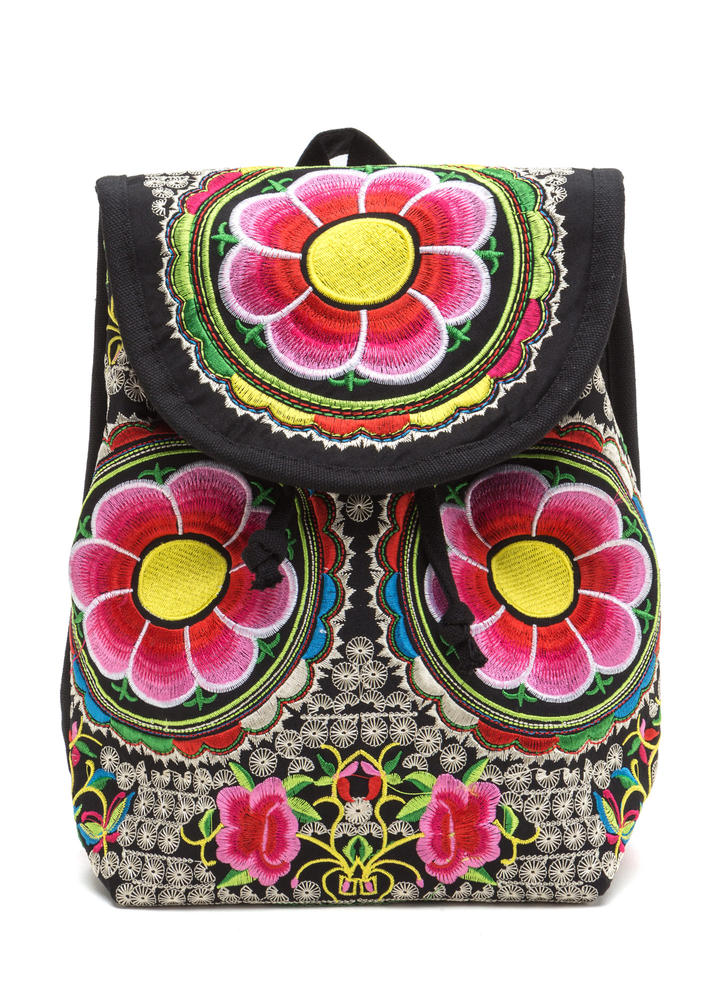 Tropical Bouquet Embroidered Backpack