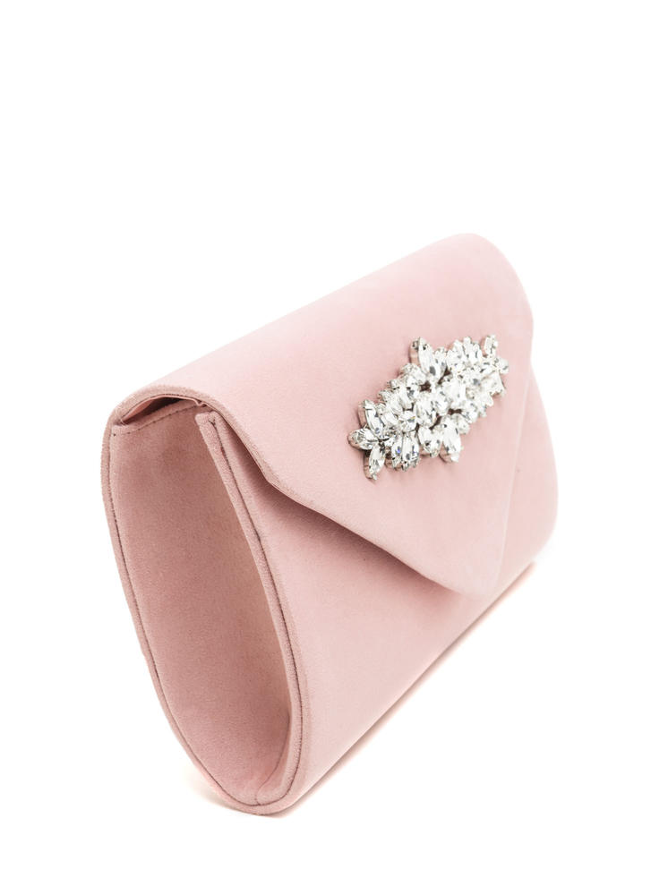 Treasured Possession Faux Suede Clutch PINK
