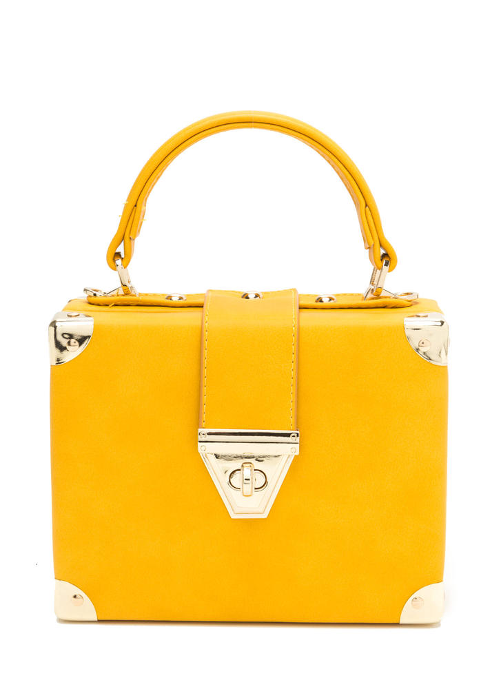 Back To Square One Faux Leather Bag MUSTARD