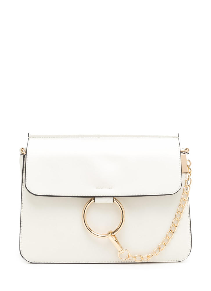 Stylish Chain-ge Faux Leather Ring Bag BEIGE
