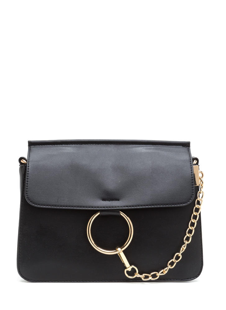 Stylish Chain-ge Faux Leather Ring Bag