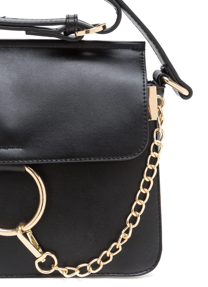 Stylish Chain-ge Faux Leather Ring Bag BLACK