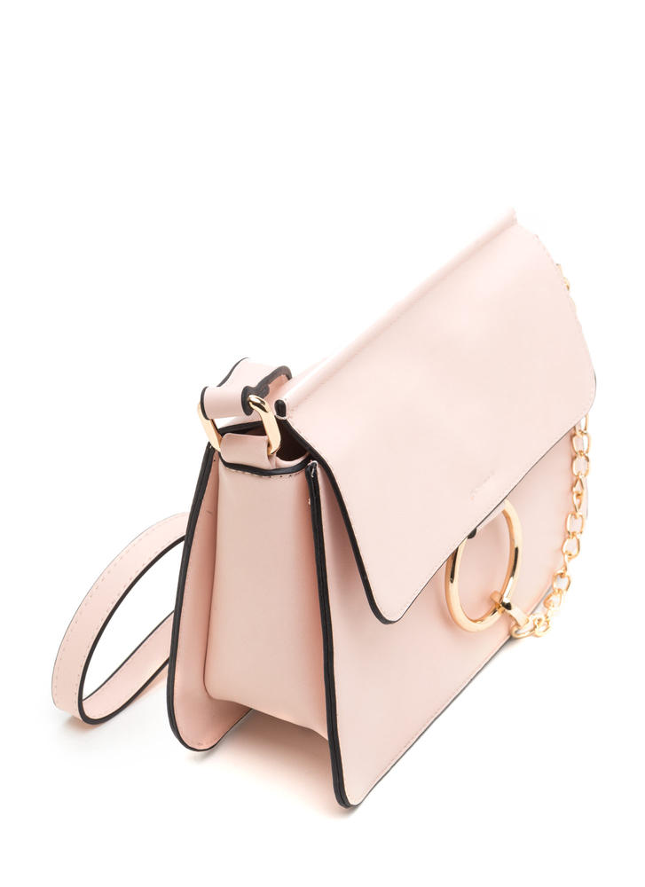 Stylish Chain-ge Faux Leather Ring Bag PINK