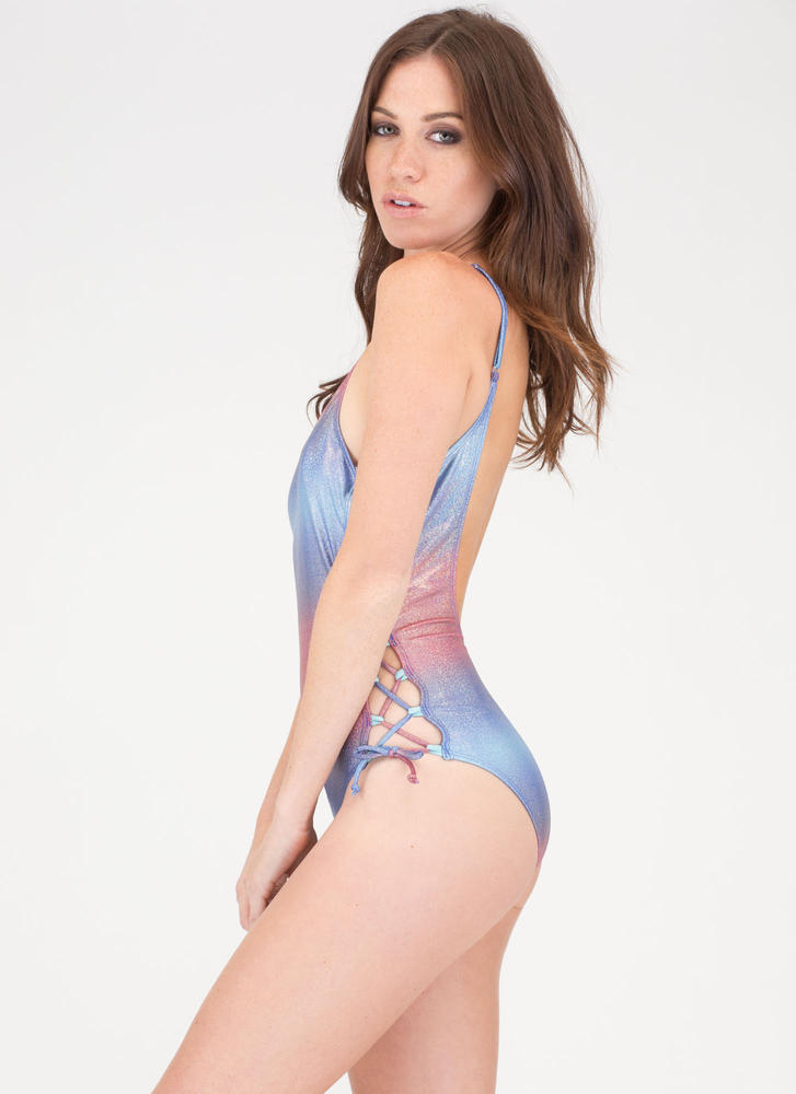 It's Lit Lace-Up One-Piece Swimsuit MULTI (Final Sale)
