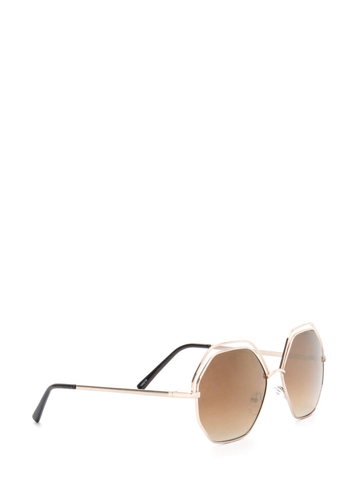 Try New Angles Mirrored Sunglasses BROWNGOLD