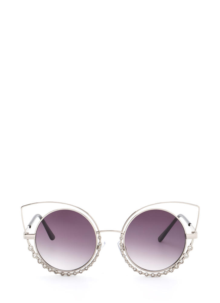 You Stud Rhinestone Cat Eye Sunglasses