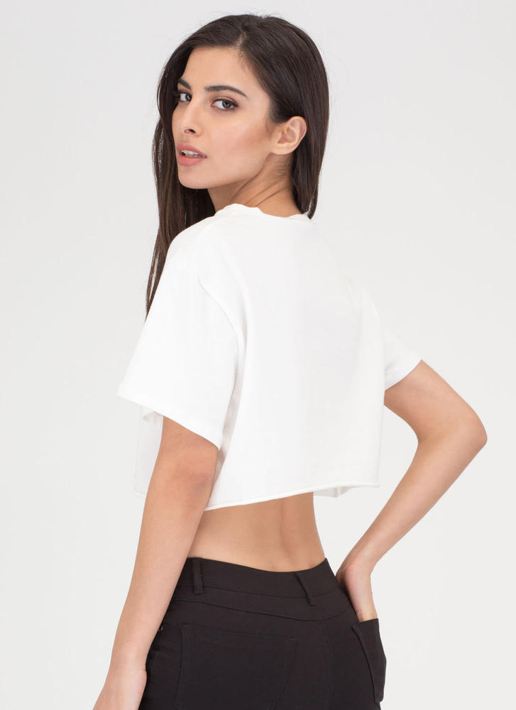 On Fire Boujee Graphic Crop Top WHITE