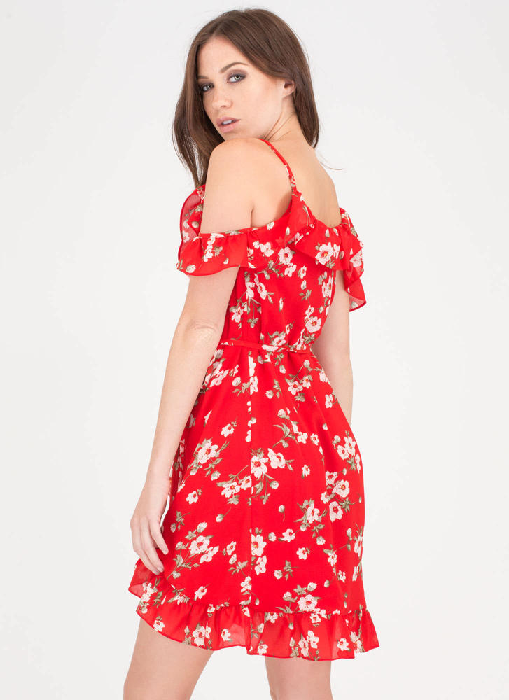 Spring Romance Ruffled Floral Wrap Dress RED