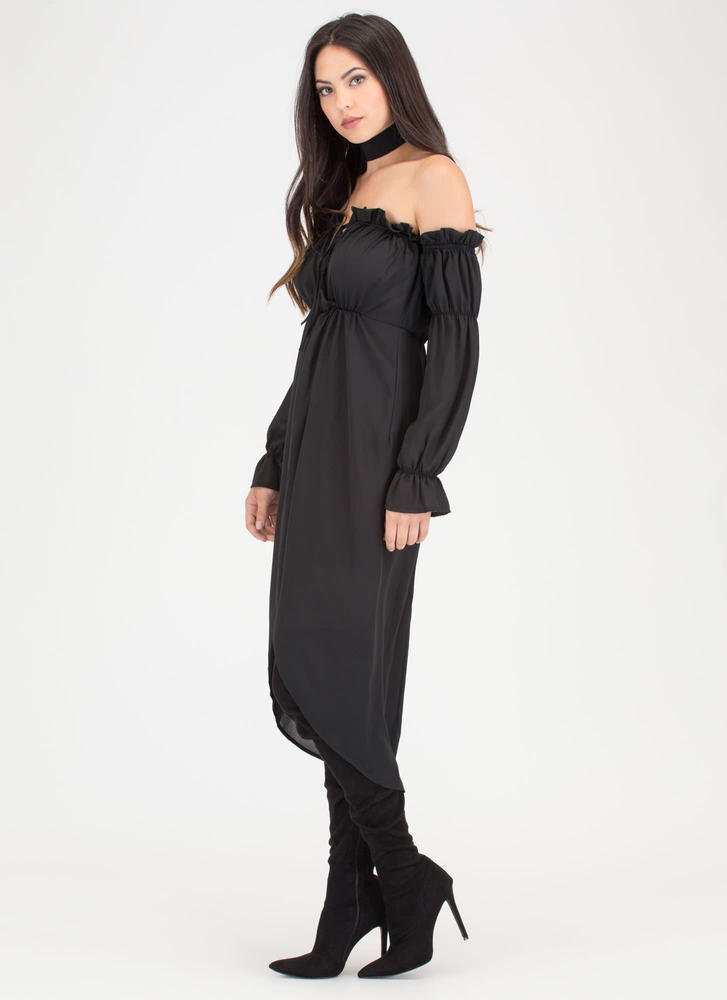 Chic Date Off-Shoulder High-Low Dress BLACK