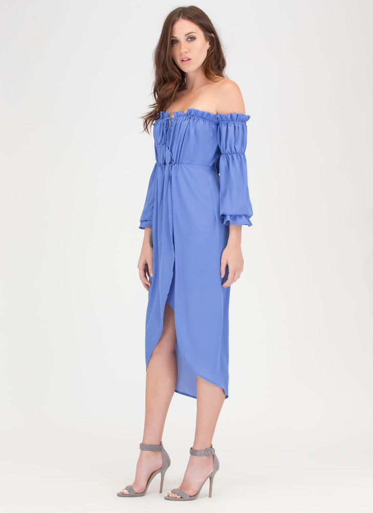 Chic Date Off-Shoulder High-Low Dress BLUE