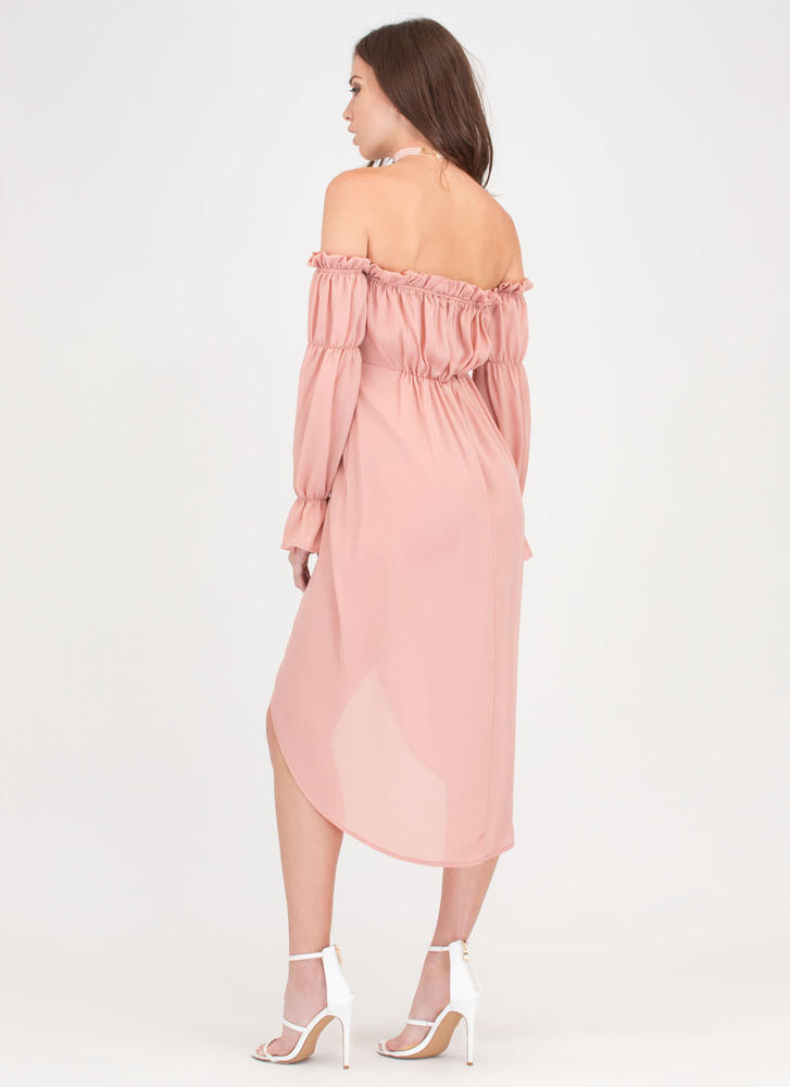 Chic Date Off-Shoulder High-Low Dress MAUVE