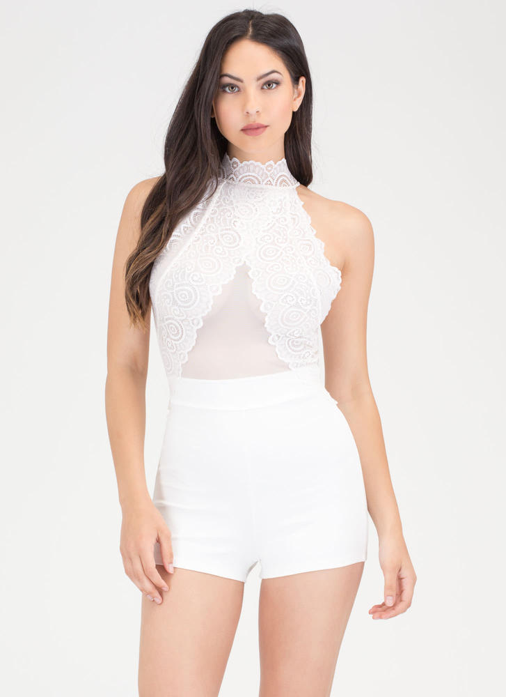 Lace The Test Mesh Inset Romper