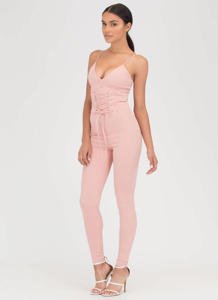 Tie In Plunging Corset Jumpsuit BLUSH