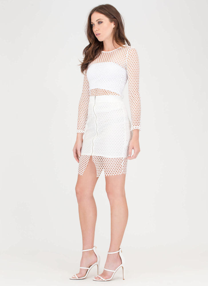 The Hole Thing Mesh Top And Skirt Set WHITE