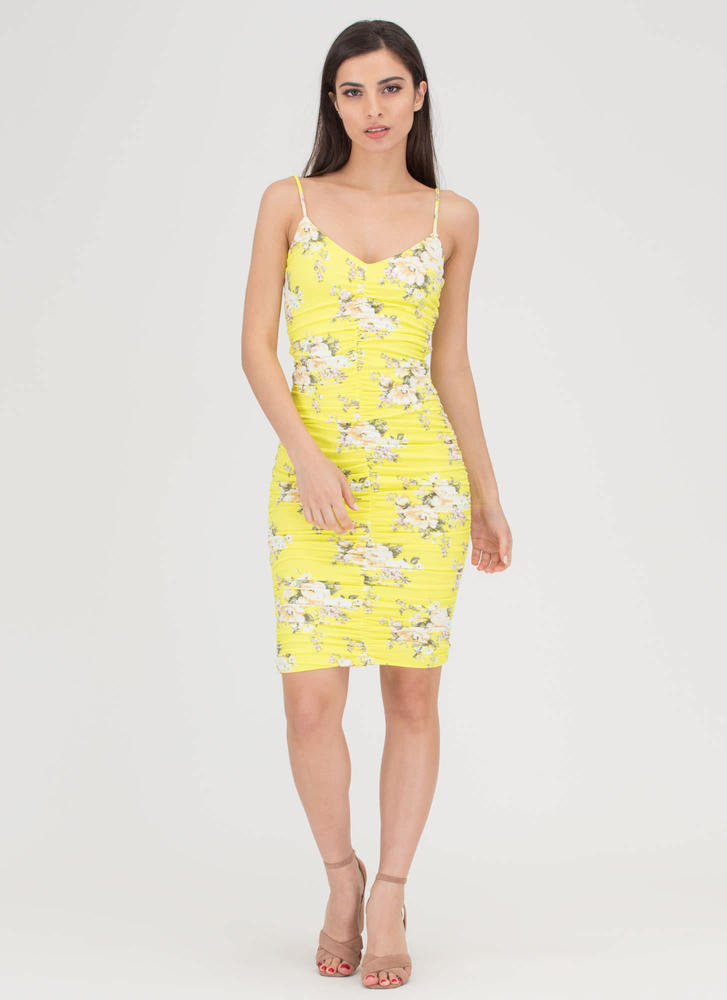 Curves On Curves Floral Ruched Dress YELLOW