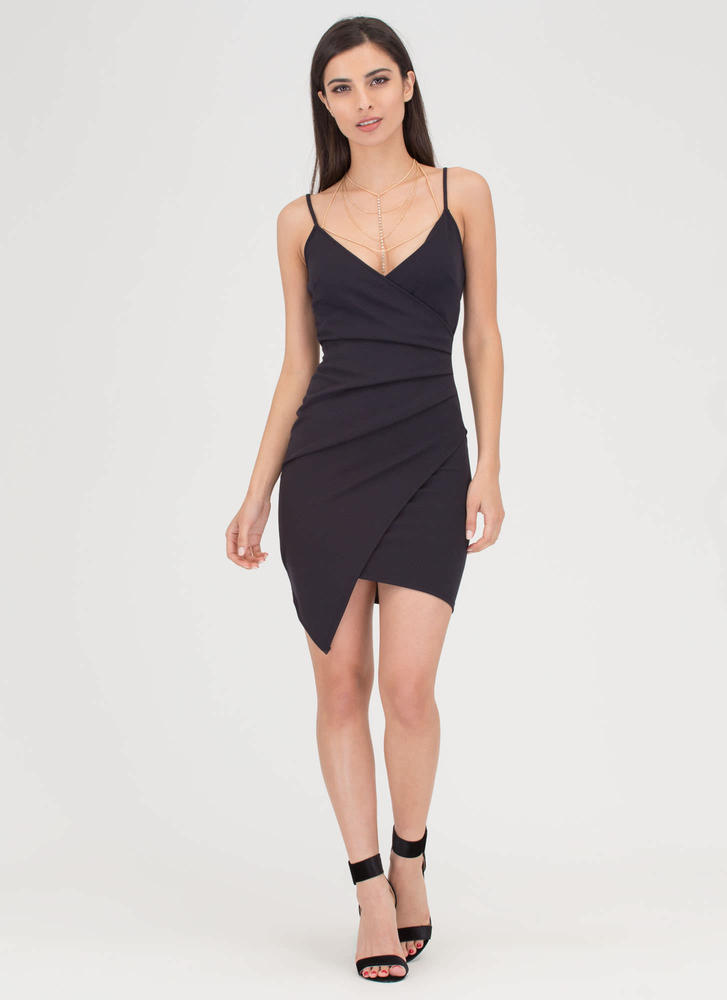 Good Side Pleated Asymmetrical Dress BLACK