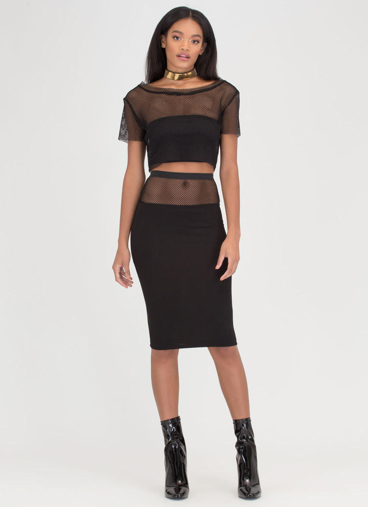 Fishnet A Win Sheer Top 'N Skirt Set