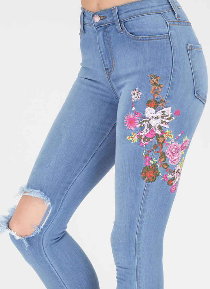 Flower Fields Distressed Skinny Jeans BLUE (Final Sale)