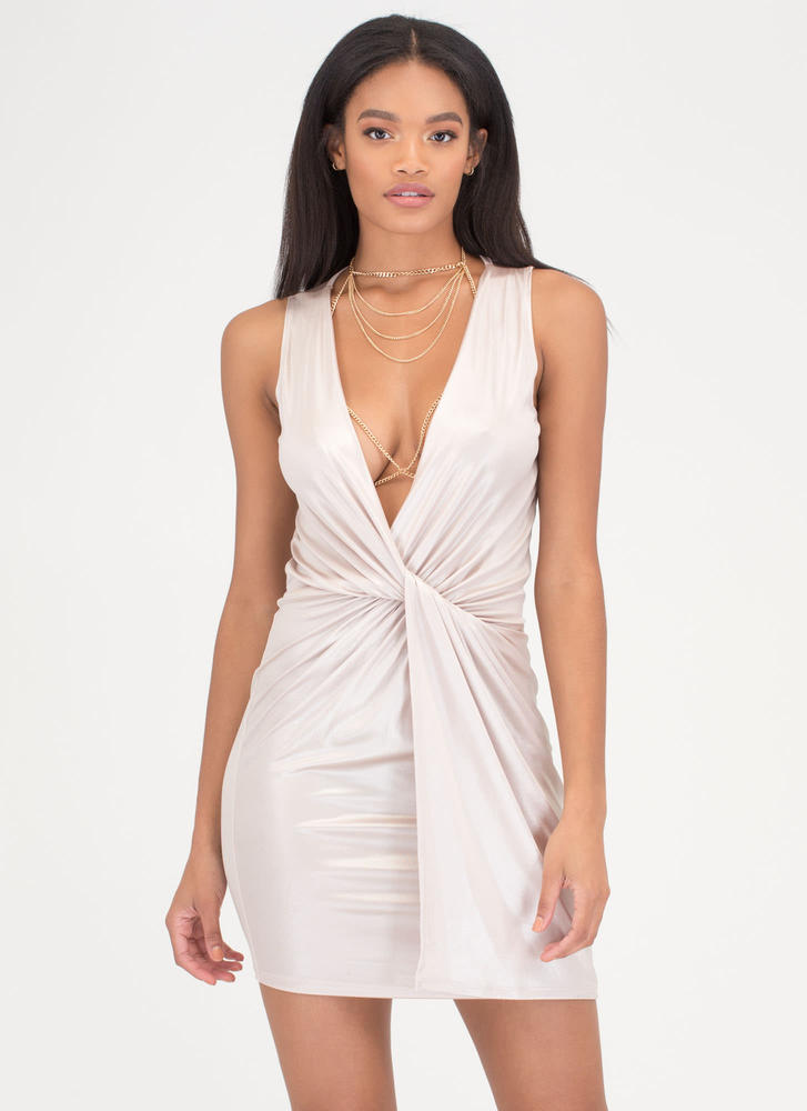 Sheen Stealer Plunging Twisted Dress