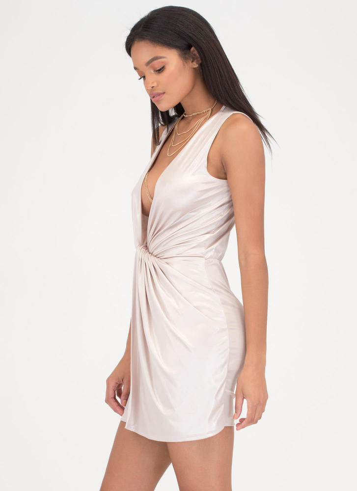 Sheen Stealer Plunging Twisted Dress TAUPE