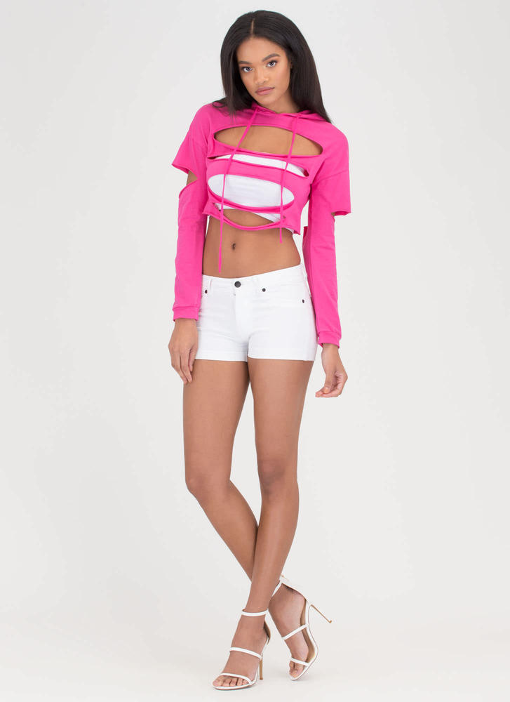 Hole Thing Distressed Cropped Hoodie FUCHSIA