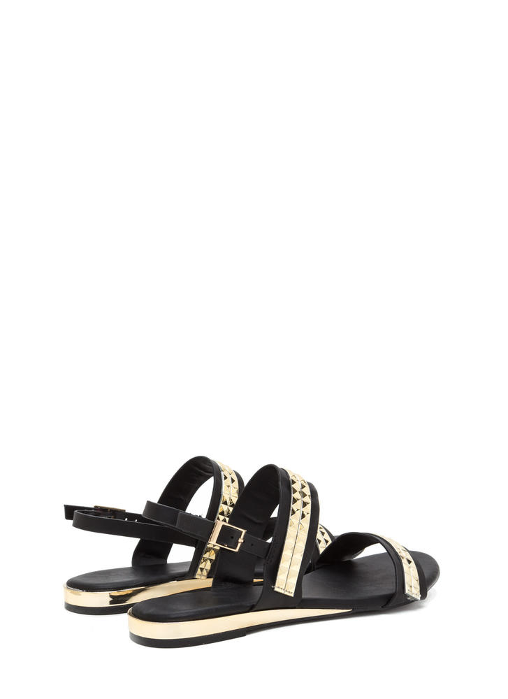 Grand Punk Strappy Faux Leather Sandals BLACK
