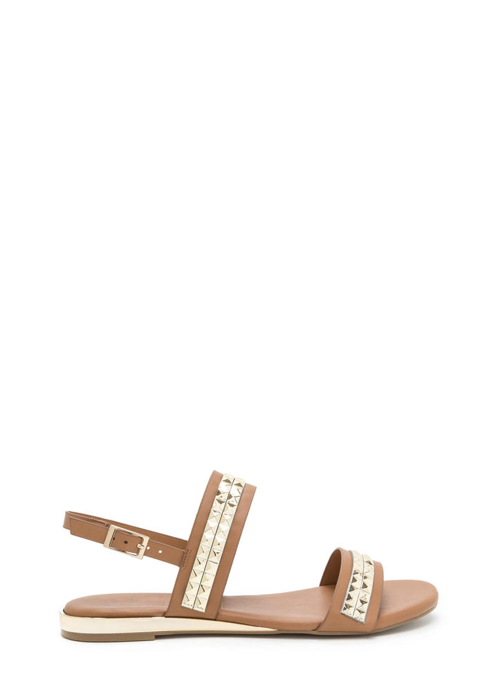 Grand Punk Strappy Faux Leather Sandals TAN