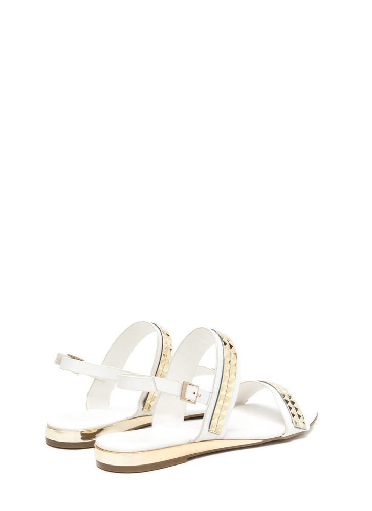 Grand Punk Strappy Faux Leather Sandals WHITE