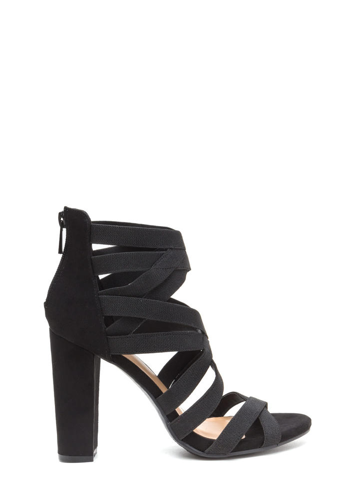 Center Cage Strappy Chunky Heels