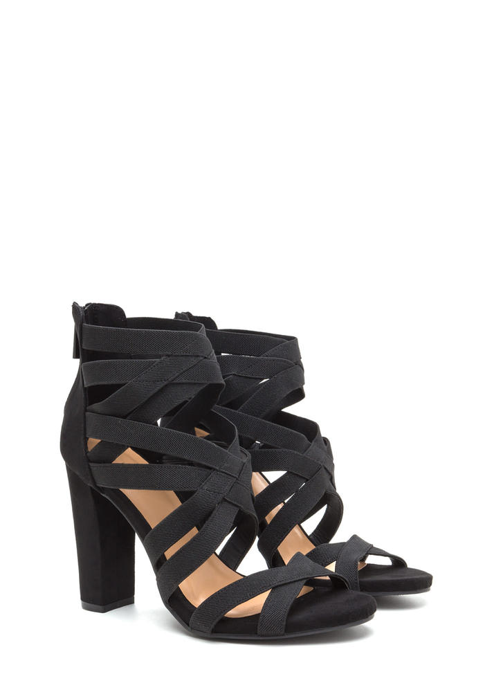Center Cage Strappy Chunky Heels BLACK
