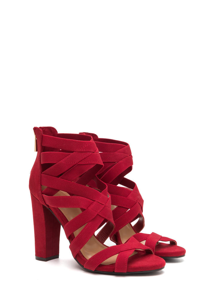 Center Cage Strappy Chunky Heels RED