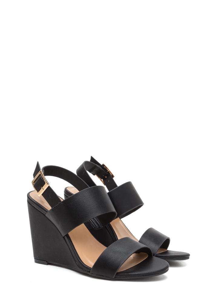 Simply Perfect Faux Leather Wedges BLACK