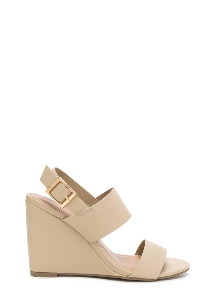 Simply Perfect Faux Leather Wedges NATURAL